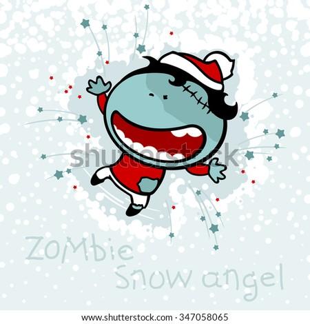Zombie snow angel (raster version) - stock photo