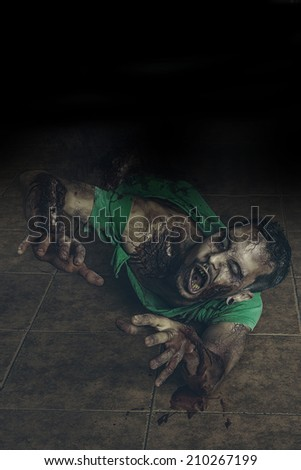 Zombie walk down the street - stock photo