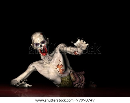 Zombie - Why Won't You Die!  Half of an Undead Zombie crawling through blood, reaching out for you. Isolated on a black background. - stock photo