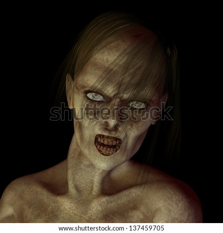 Zombie Woman: Portrait of a female zombie with stringy hair and bad teeth. Isolated on a black background. - stock photo