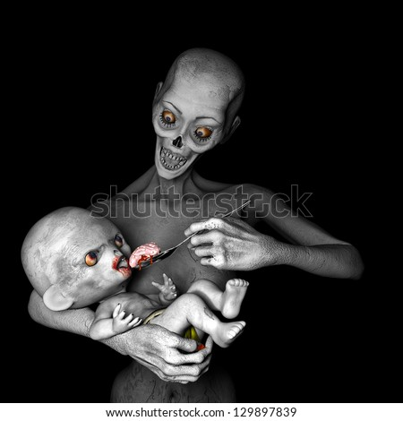 Zombies: Feeding Baby - Zombie mother feeding her baby a bloody spoonful of brains..Isolated on a black background. - stock photo