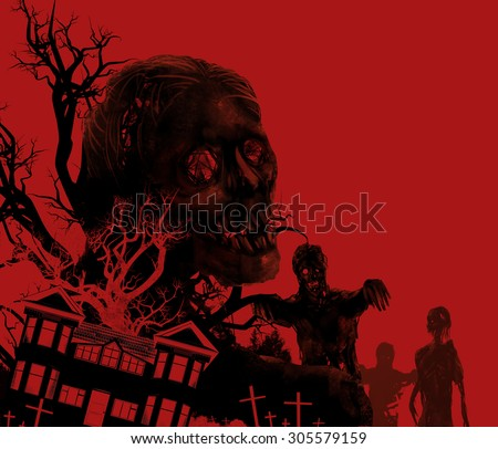 Zombies on red. Zombies walking on a red background with old house, cemetery & black tree illustration. - stock photo