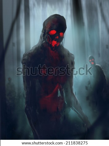 Zombies walking. Skeleton zombies walking on a foggy weather night woods amidst a trees. - stock photo