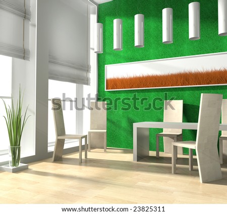 Zone for reception of meal in modern home 3d image