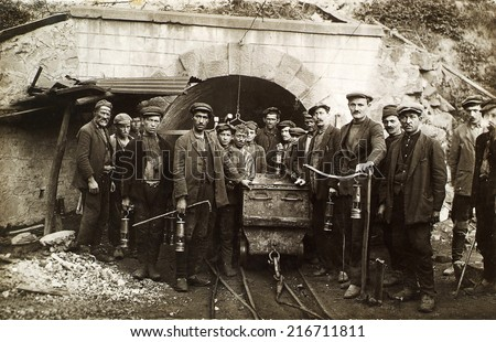 ZONGULDAK, TURKEY - CIRCA 1950's :Unidentified Turkish miners  workers looking at camera in Turkey.Circa 1950's. - stock photo