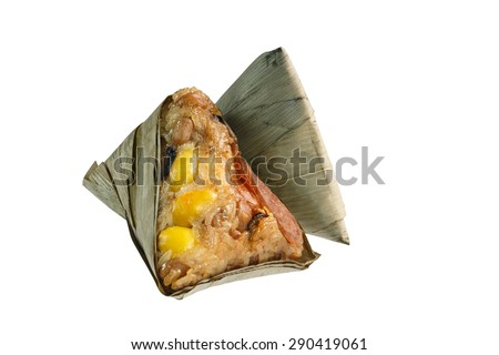 Zongzi or Asian Chinese rice dumplings. Isolated on white for Dragon Boat Festival , Close up of Zongzi. Traditional chinese food. - stock photo
