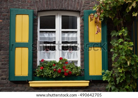 ZONS, GERMANY - SEPTEMBER 25, 2016: Nicely painted window attracts tourists