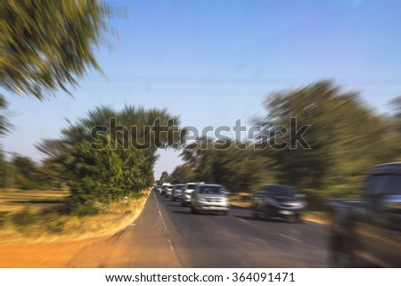 Zoom blur high speed motion in the road on new year festival  for abstract background. - stock photo