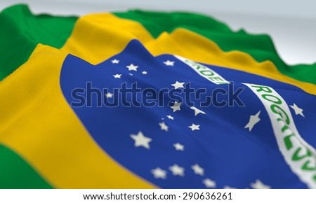 zoom flag of brazil, close up view, bokeh