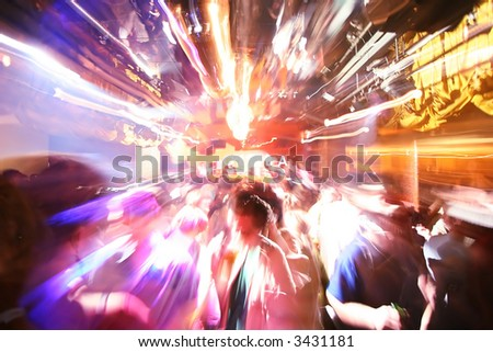 Zoom Motion Effect at Disco Party - stock photo