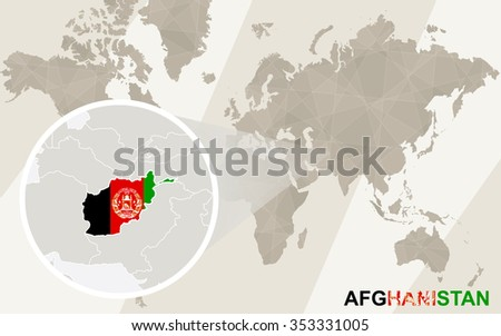 Zoom on Afghanistan Map and Flag. World Map. Rasterized Copy. - stock photo