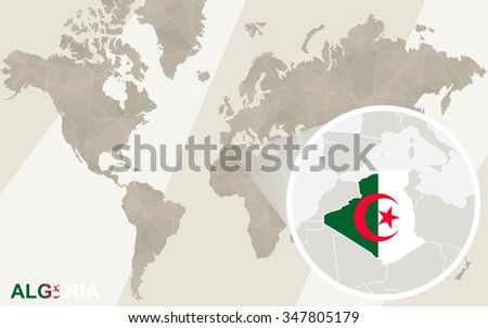 Zoom on Algeria Map and Flag. World Map. Rasterized Copy.