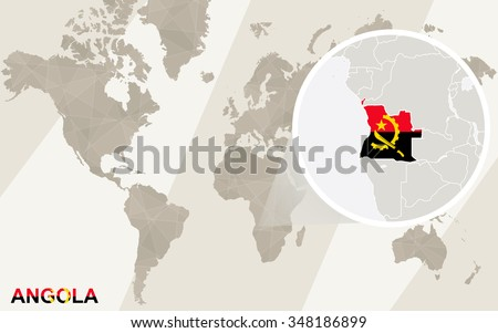 Zoom on Angola Map and Flag. World Map. Rasterized Copy. - stock photo