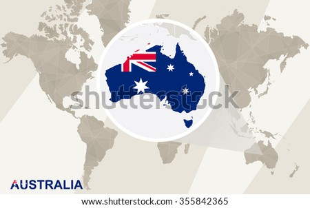 Zoom on Australia Map and Flag. World Map. Rasterized Copy. - stock photo
