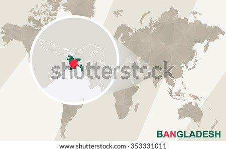 Zoom on Bangladesh Map and Flag. World Map. Rasterized Copy. - stock photo