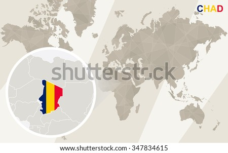Zoom on Chad Map and Flag. World Map. Rasterized Copy. - stock photo
