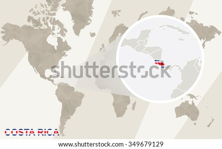 Zoom on Costa Rica Map and Flag. World Map. Rasterized Copy. - stock photo