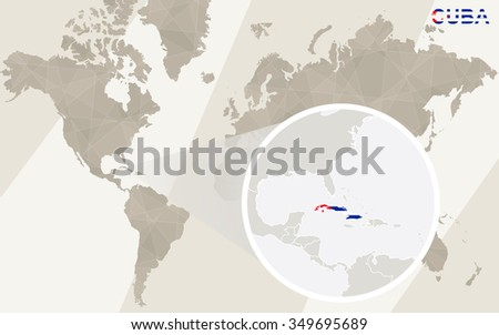 Zoom on Cuba Map and Flag. World Map. Rasterized Copy. - stock photo