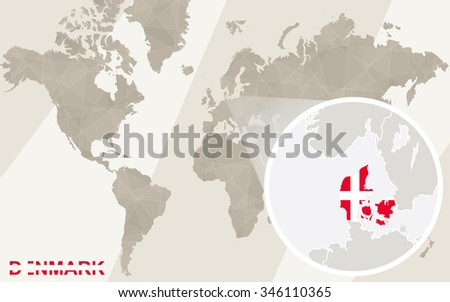 Zoom on Denmark Map and Flag. World Map. Rasterized Copy. - stock photo
