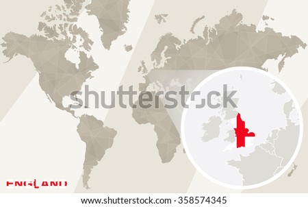 Zoom on England Map and Flag. World Map. Rasterized Copy. - stock photo