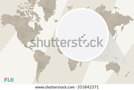 Zoom on Fiji Map and Flag. World Map. Rasterized Copy. - stock photo