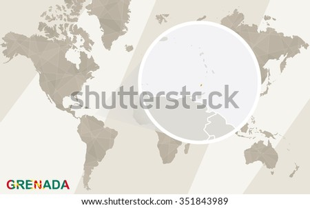 Zoom on Grenada Map and Flag. World Map. Rasterized Copy. - stock photo