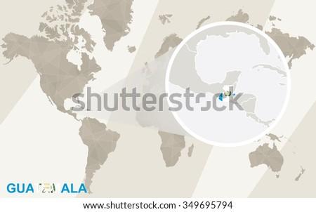 Zoom On Guatemala Map Flag World Stock Illustration 349695794