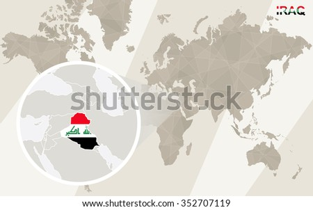 Zoom on Iraq Map and Flag. World Map. Rasterized Copy. - stock photo