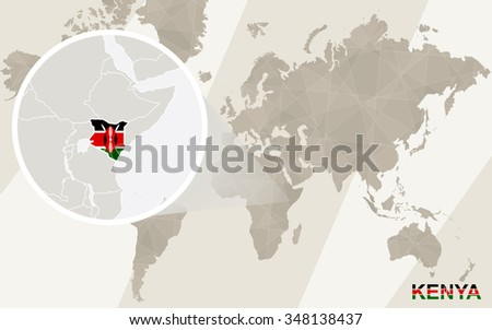 Zoom on kenya map flag world stock illustration 348138437 zoom on kenya map and flag world map rasterized copy gumiabroncs Images