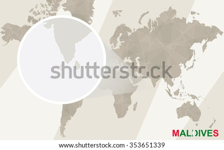 Zoom on Maldives Map and Flag. World Map. Rasterized Copy. - stock photo