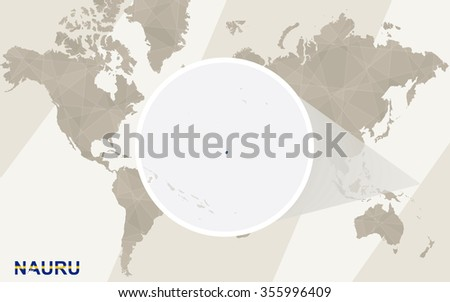 Zoom on Nauru Map and Flag. World Map. Rasterized Copy. - stock photo