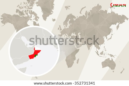 Zoom on Oman Map and Flag. World Map. Rasterized Copy. - stock photo
