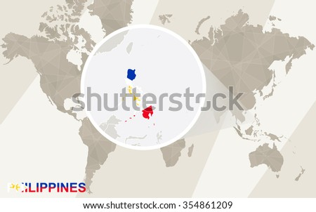 Zoom on Philippines Map and Flag. World Map. Rasterized Copy. - stock photo