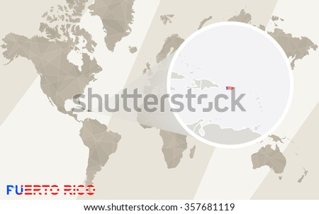 Zoom on Puerto Rico Map and Flag. World Map.  - stock photo