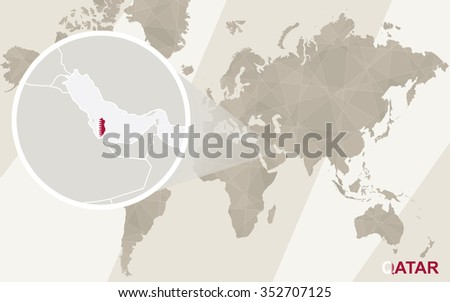 Zoom on Qatar Map and Flag. World Map. Rasterized Copy. - stock photo