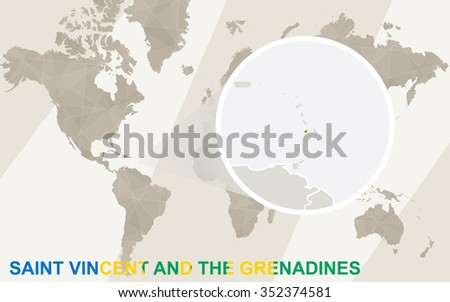 Zoom on Saint Vincent and the Grenadines Map and Flag. World Map. Rasterized Copy. - stock photo