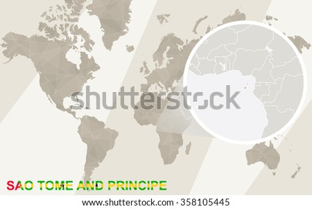 Zoom on Sao Tome and Principe Map and Flag. World Map. Rasterized Copy. - stock photo