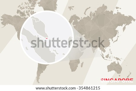 Zoom on Singapore Map and Flag. World Map. Rasterized Copy. - stock photo