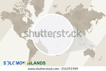 Zoom on Solomon Islands Map and Flag. World Map. Rasterized Copy. - stock photo