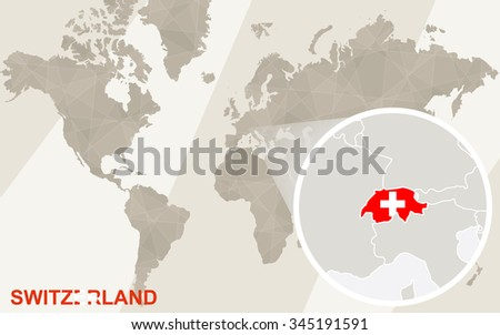 Zoom on Switzerland Map and Flag. World Map. Rasterized Copy.