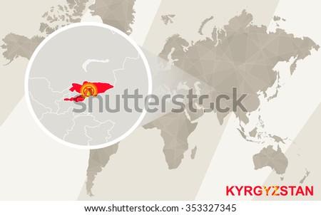 Zoom on Tajikistan Map and Flag. World Map. Rasterized Copy. - stock photo