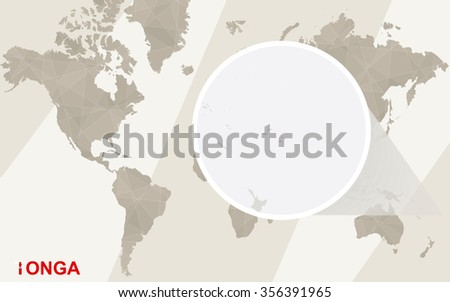 Zoom on Tonga Map and Flag. World Map. Rasterized Copy. - stock photo