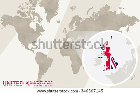 Zoom on United Kingdom Map and Flag. World Map. Rasterized Copy. - stock photo