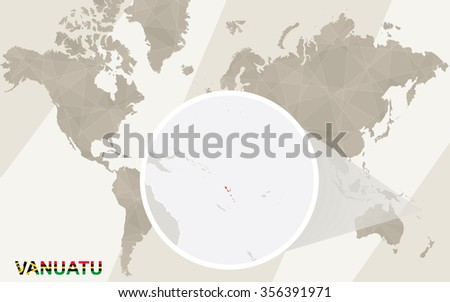 Zoom on Vanuatu Map and Flag. World Map. Rasterized Copy. - stock photo