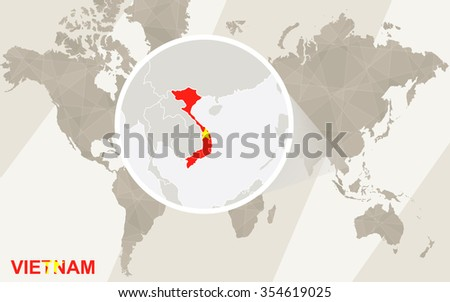 Zoom on Vietnam Map and Flag. World Map. Rasterized Copy. - stock photo