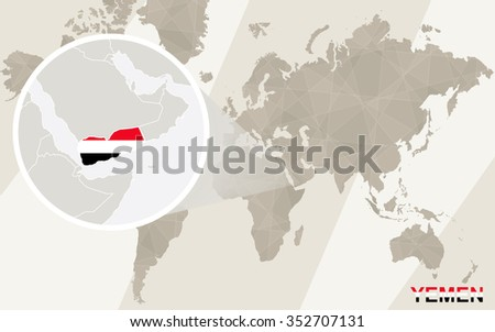 Zoom on Yemen Map and Flag. World Map. Rasterized Copy. - stock photo