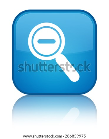 Zoom out icon cyan blue square button - stock photo