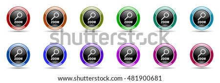 zoom round glossy colorful web icon set