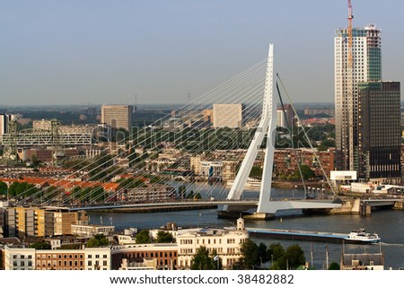 Zoomed view on the Erasmus bridge from the Euromast - stock photo