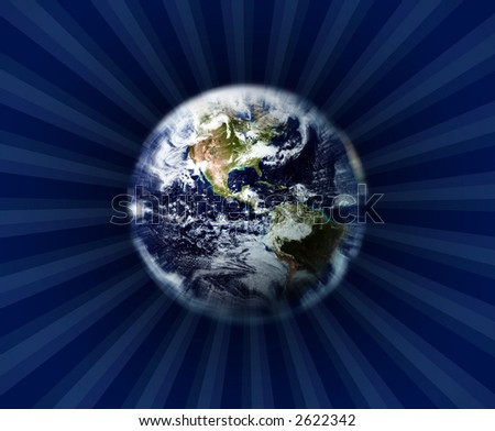 Zooming in Earth & burst of ray background - stock photo